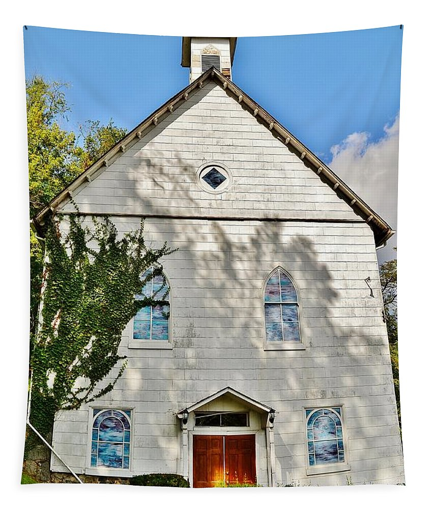 Church Tapestry featuring the photograph St. Luke African Methodist Episcopal Church - Ellicott City Maryland by Kim Bemis