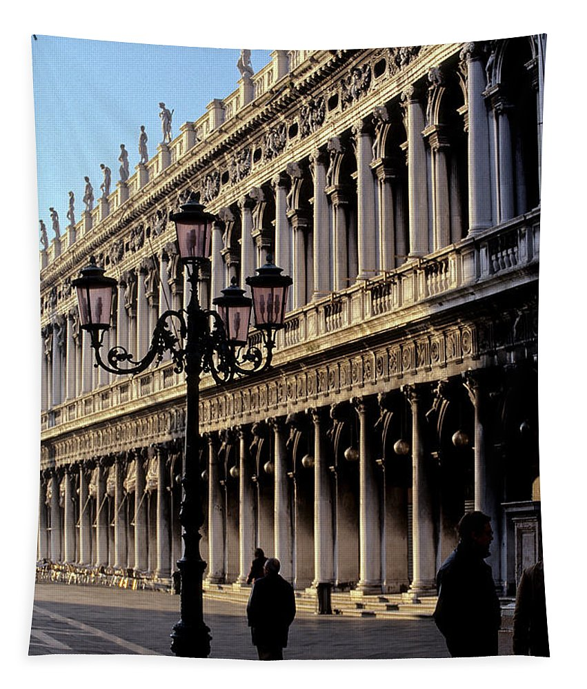 Facade Tapestry featuring the photograph St. Mark's Square Venice Italy by Ryan Fox