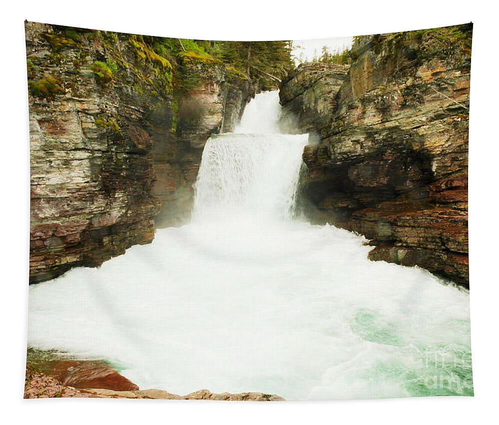 Water Tapestry featuring the photograph St Mary Falls Glacier National Park by Jeff Swan