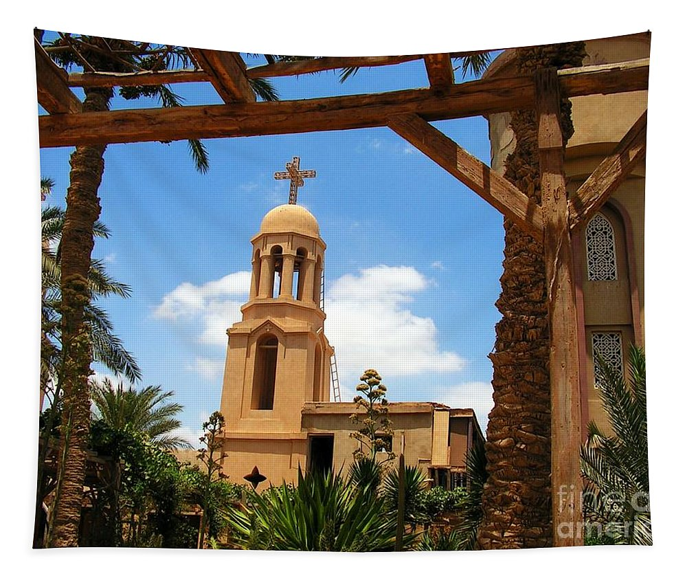 Egypt Tapestry featuring the photograph St Mary's Church by Ben Yassa