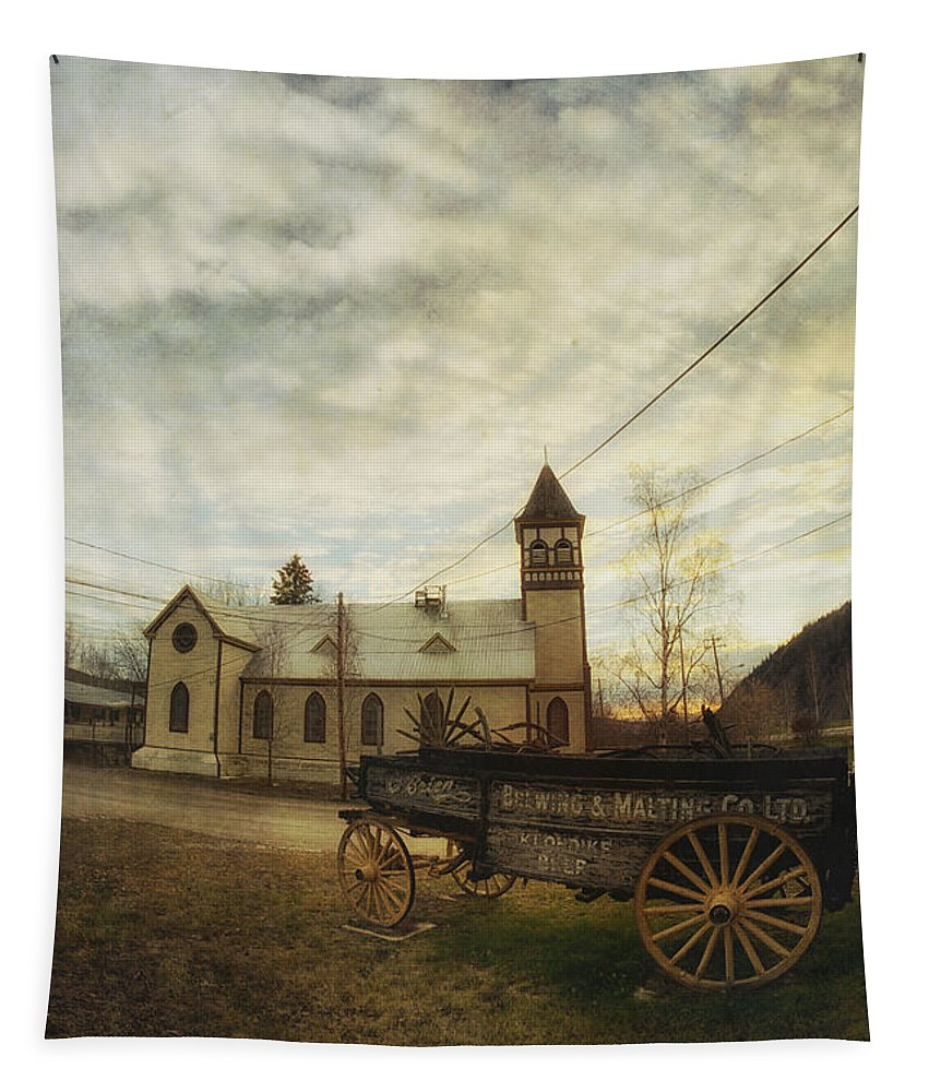 Wagon Tapestry featuring the photograph St. Pauls Anglican Church With Wagon by Priska Wettstein