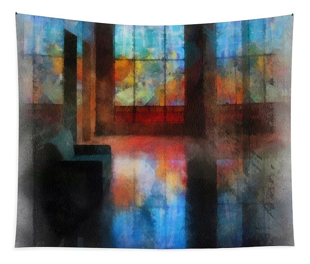 Religious Tapestry featuring the photograph Stained Glass 01 Photo Art by Thomas Woolworth