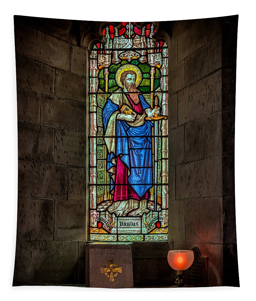 British Tapestry featuring the photograph Stained Glass Window by Adrian Evans