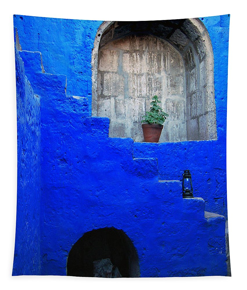 Monastery Tapestry featuring the photograph Staircase In Blue Courtyard by RicardMN Photography