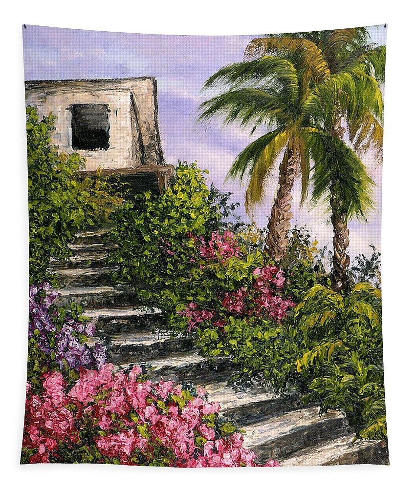 Mexico Tapestry featuring the painting Stairway Garden by Darice Machel McGuire