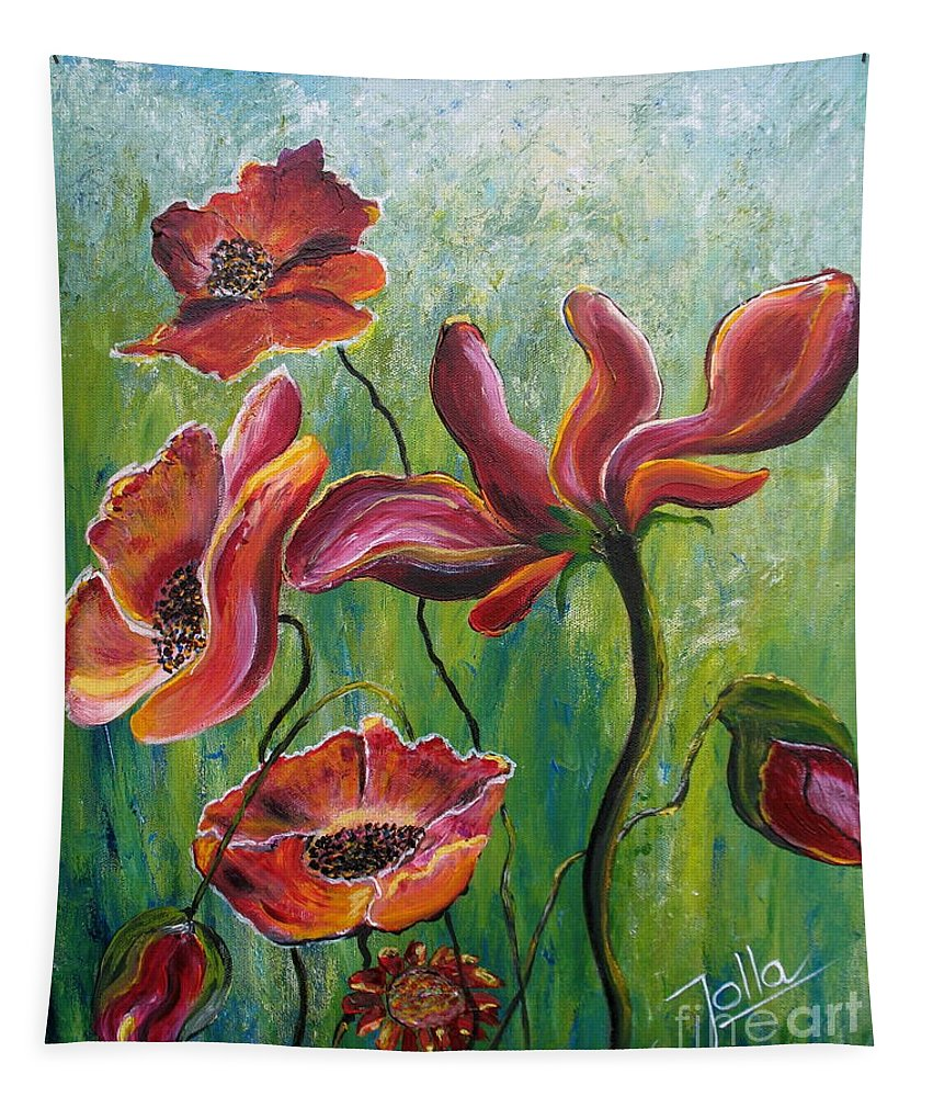 Poppies Tapestry featuring the painting Standing High by Jolanta Anna Karolska