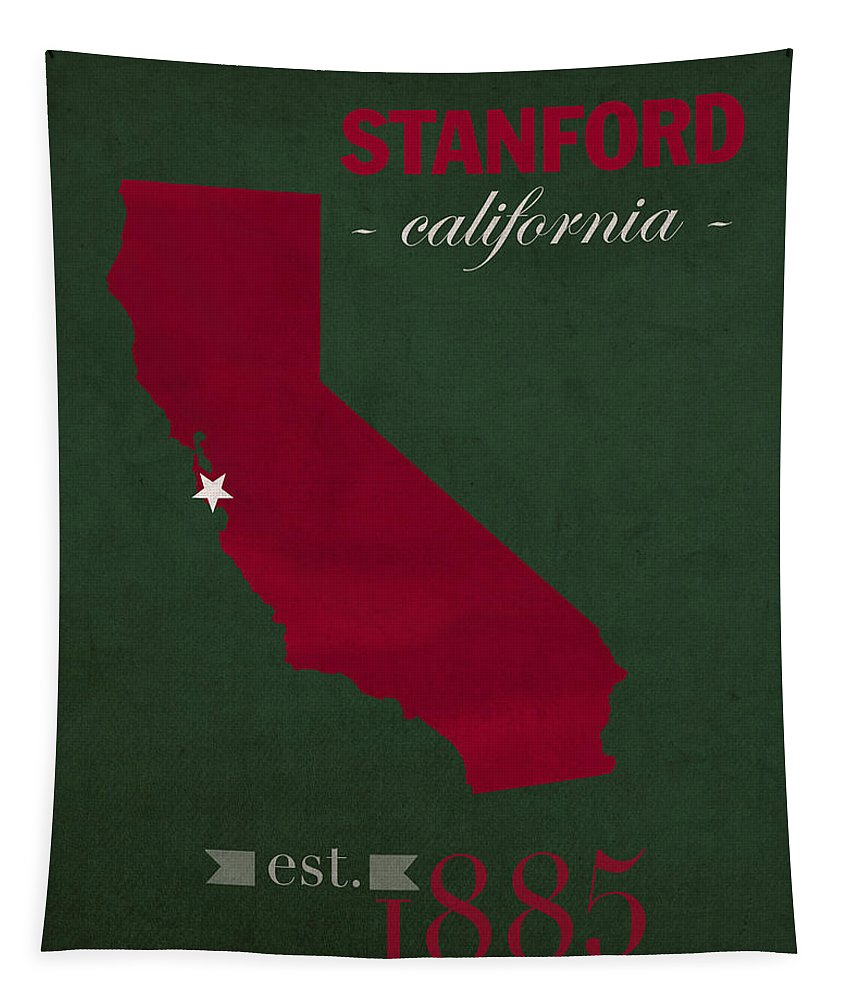 Stanford University Tapestry featuring the mixed media Stanford University Cardinal Stanford California College Town State Map Poster Series No 100 by Design Turnpike