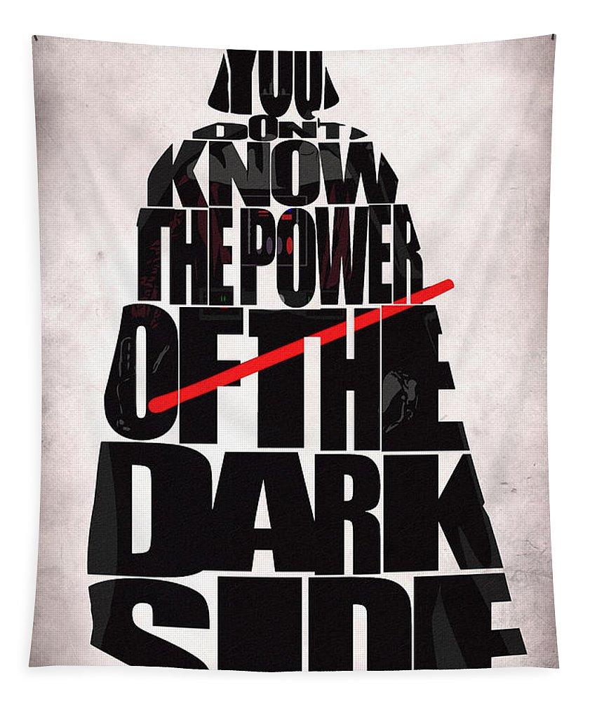 Darth Vader Tapestry featuring the digital art Star Wars Inspired Darth Vader Artwork by Inspirowl Design