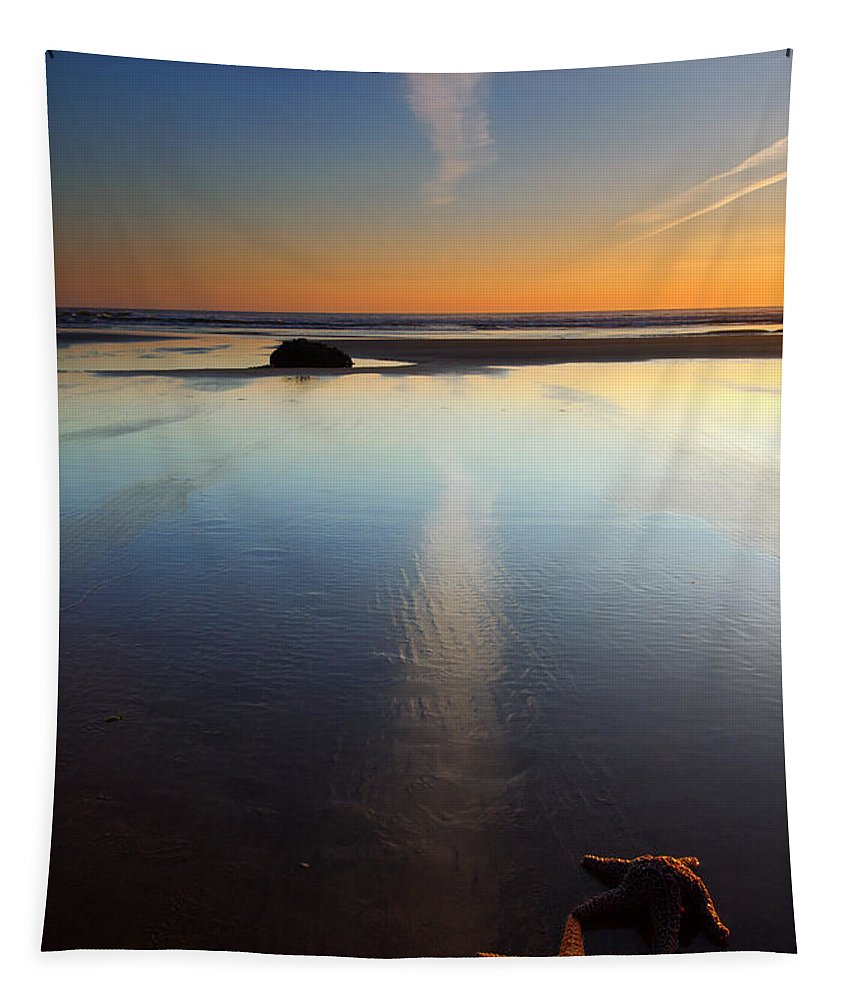 Starfish Tapestry featuring the photograph Starfish Sunset by Mike Dawson
