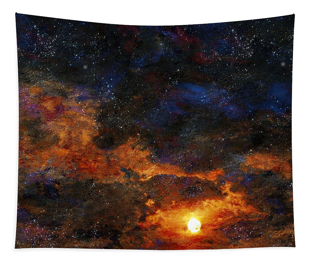 Abstract Tapestry featuring the digital art Starry Sunset by Bruce Rolff