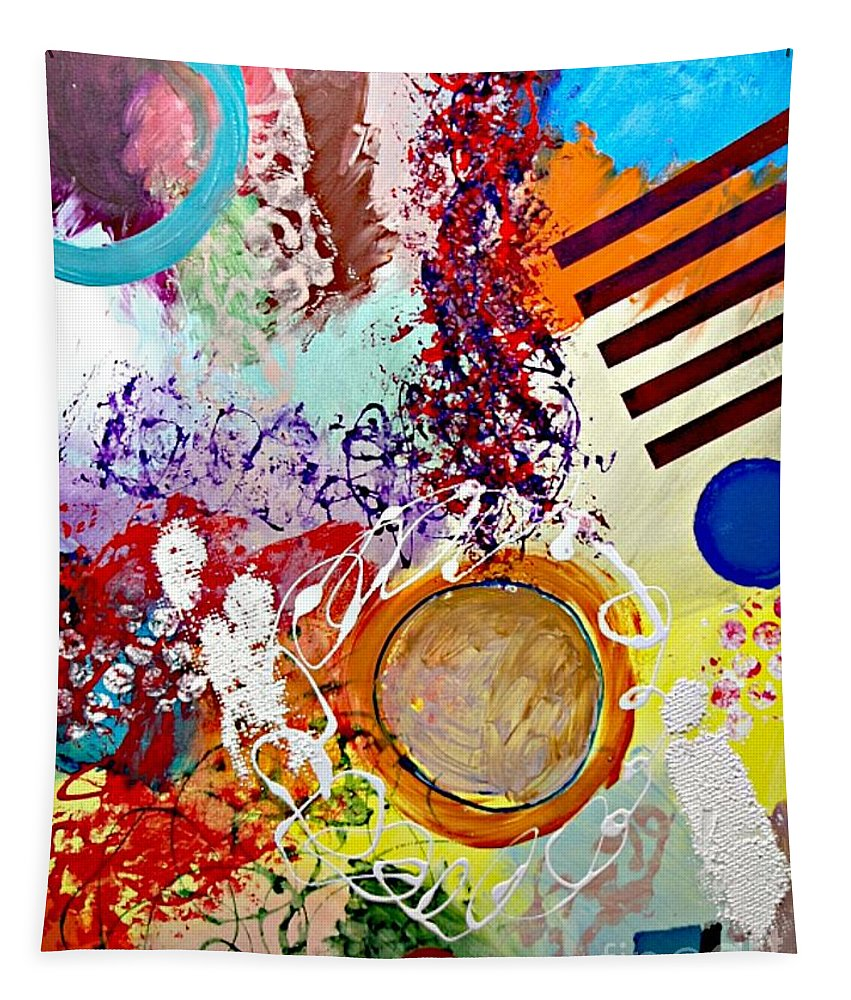 Abstract Tapestry featuring the painting Starting Anew by Allan P Friedlander
