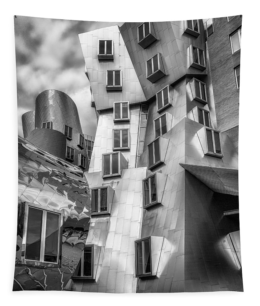 Architect Tapestry featuring the photograph Stata Building 1 Bw by Jerry Fornarotto