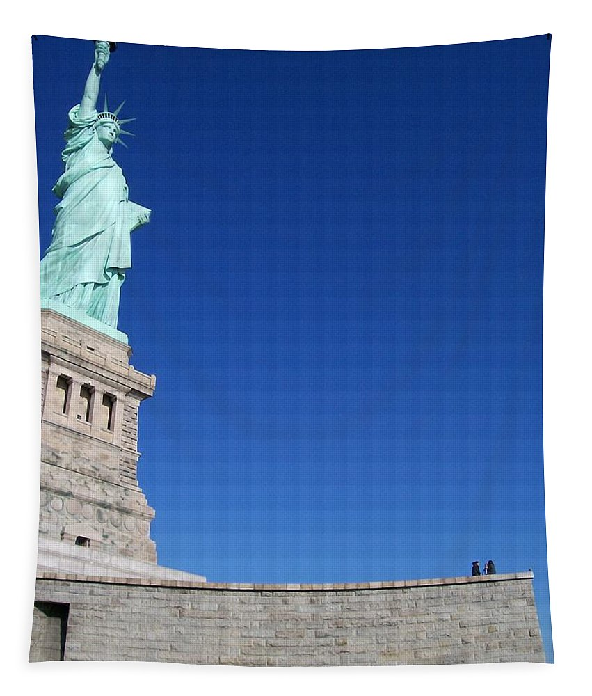 Statue Of Liberty Tapestry featuring the photograph Statue And Sky by Katie Beougher