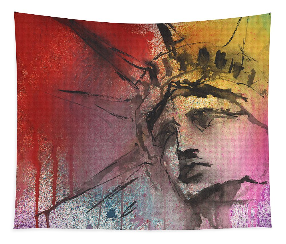 Statue Of Liberty Art Tapestry featuring the painting Statue of Liberty New York painting by Svetlana Novikova
