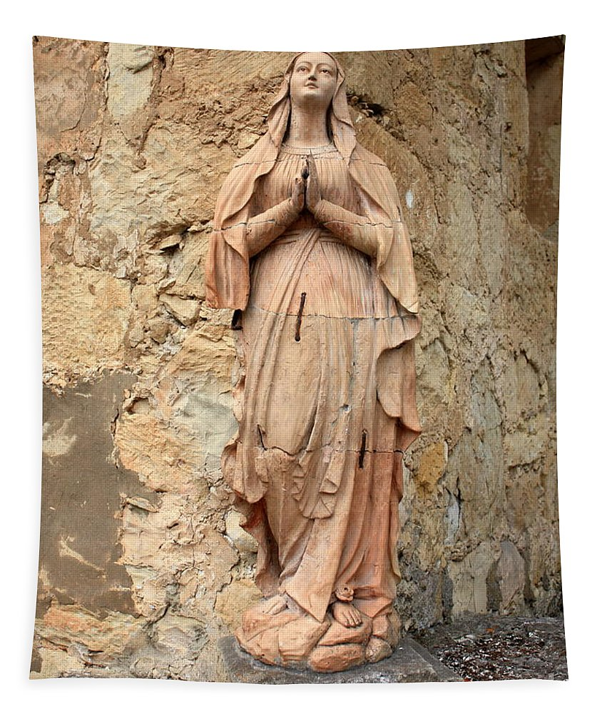 Mother Mary Tapestry featuring the photograph Statue Of Mary In Mission Garden by Carol Groenen