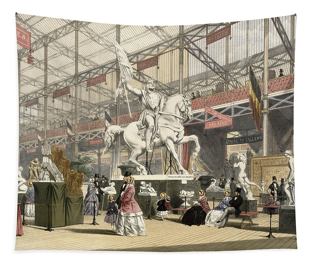 Crystal Palace Tapestry featuring the drawing Statues In The Belgium Section by English School