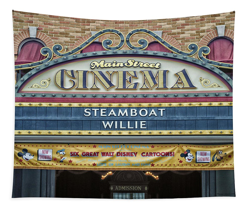 Disney Tapestry featuring the photograph Steam Boat Willie Signage Main Street Disneyland 01 by Thomas Woolworth