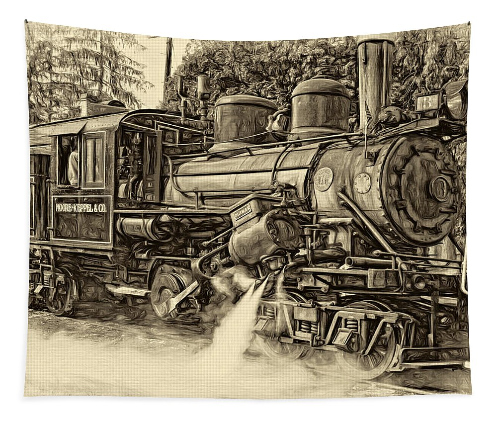 Pocahontas County Tapestry featuring the photograph Steam Climax - Paint Sepia by Steve Harrington