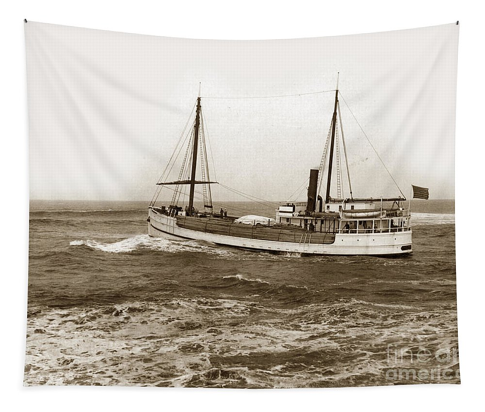 Steam-schooner Elizabeth Tapestry featuring the photograph steam-schooner Elizabeth circa 1914 by California Views Archives Mr Pat Hathaway Archives