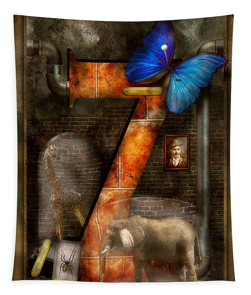Self Tapestry featuring the photograph Steampunk - Alphabet - Z Is For Zoology by Mike Savad