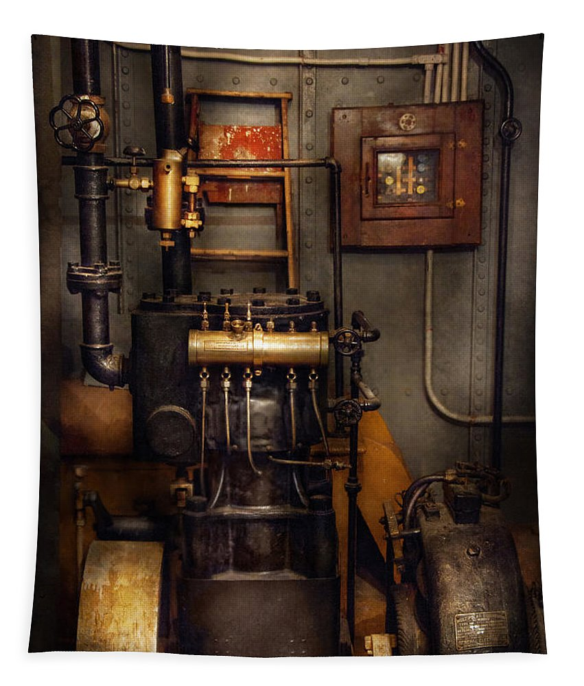 Hdr Tapestry featuring the photograph Steampunk - Back In The Engine Room by Mike Savad