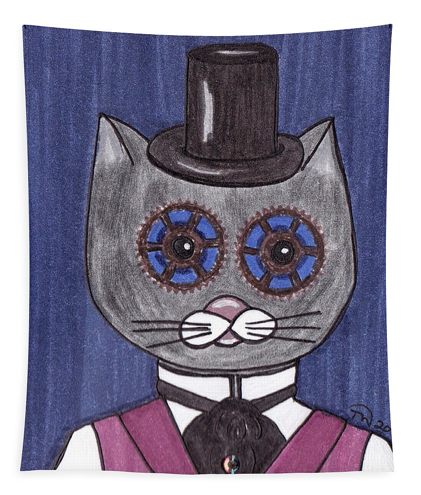 Steampunk Tapestry featuring the painting Steampunk Cat by Tambra Wilcox