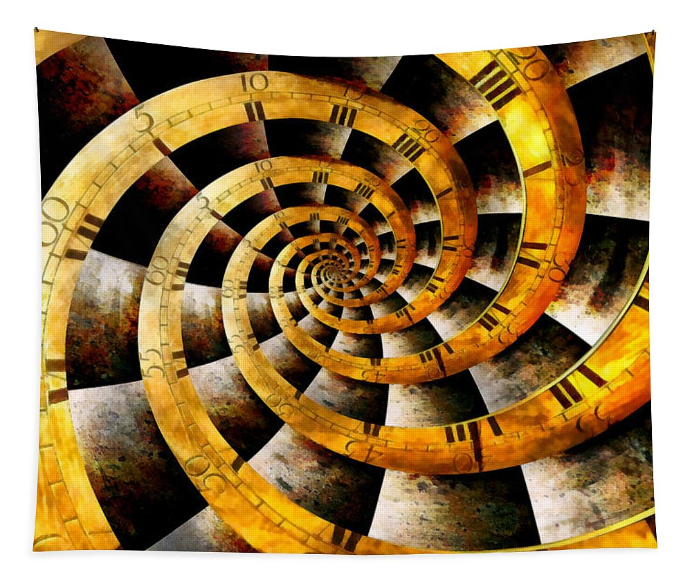 Steampunk Tapestry featuring the photograph Steampunk - Clock - The Flow Of Time by Mike Savad