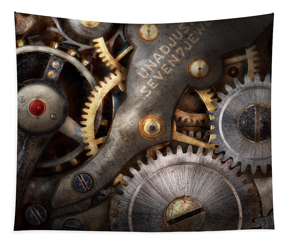 Steampunk Tapestry featuring the photograph Steampunk - Gears - Horology by Mike Savad