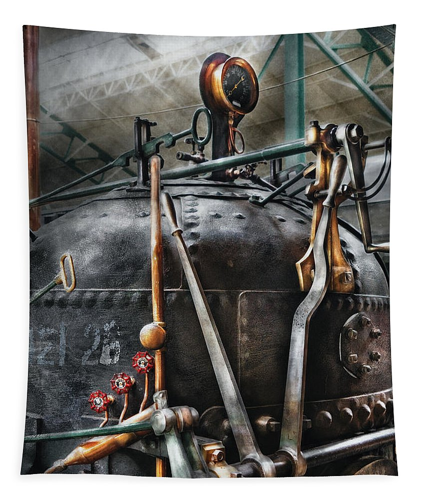 Steampunk Tapestry featuring the photograph Steampunk - The Steam Engine by Mike Savad