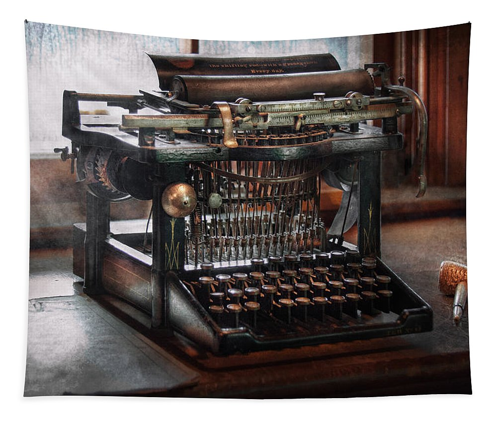 Writer Tapestry featuring the photograph Steampunk - Typewriter - A Really Old Typewriter by Mike Savad