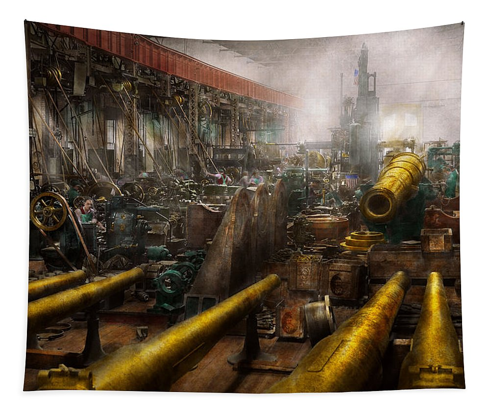 Self Tapestry featuring the photograph Steampunk - War - We Are Ready by Mike Savad