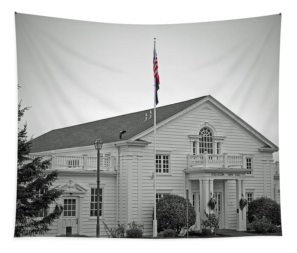 Steilacoom Town Hall Tapestry featuring the photograph Steilacoom Town Hall by Tikvah's Hope