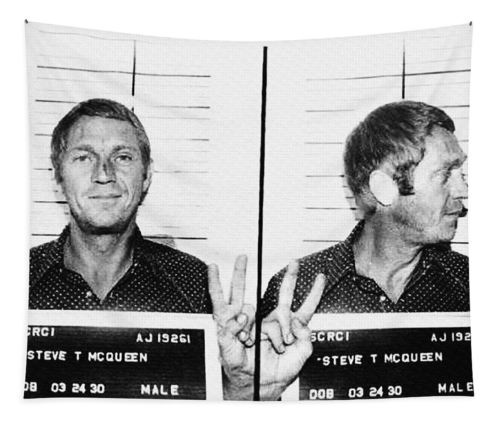 Steve Tapestry featuring the photograph Steve Mcqueen Mugshot by Digital Reproductions