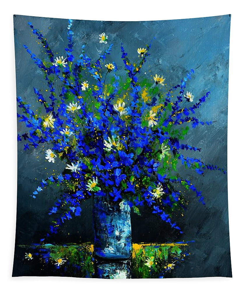 Flowers Tapestry featuring the painting Still Life 675130 by Pol Ledent