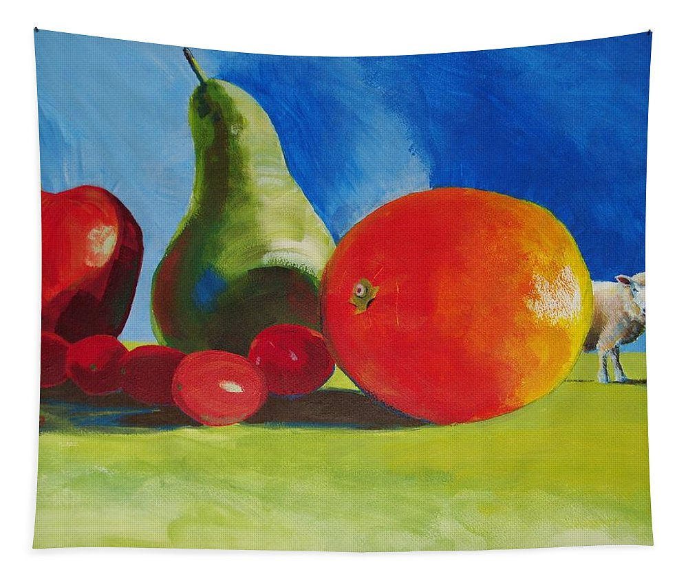 Still Tapestry featuring the painting Still Life Fruit by Mike Jory