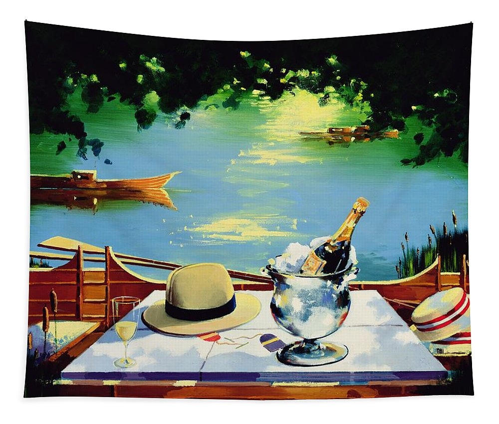 Henley Tapestry featuring the painting Still Life Regatta by Andrew Hewkin