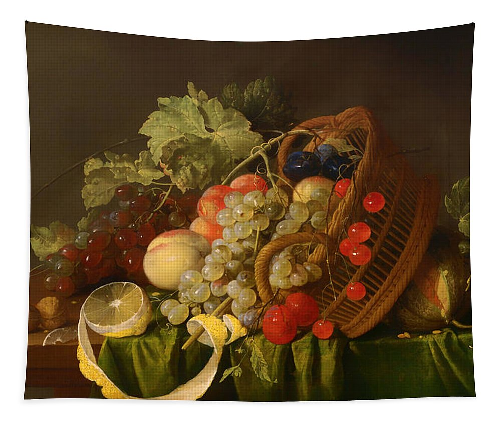 Painting Tapestry featuring the painting Still Life With A Basket Of Fruit by Mountain Dreams