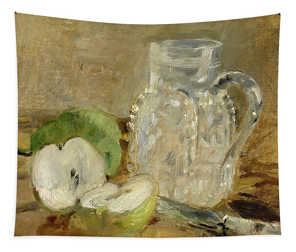Pomme Coupee Et Pichet; Sliced; Knife; Impressionist; Jug; Table; Nature Morte Tapestry featuring the painting Still Life With A Cut Apple And A Pitcher by Berthe Morisot