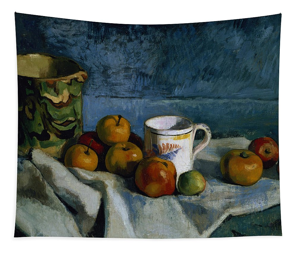 Jug Tapestry featuring the painting Still Life With Apples Cup And Pitcher by Paul Cezanne