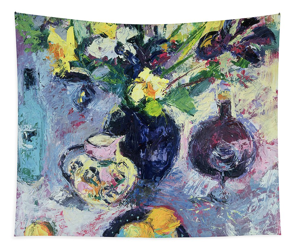 Vase Of Flowers Tapestry featuring the painting Still Life With Turquoise Bottle by Sylvia Paul