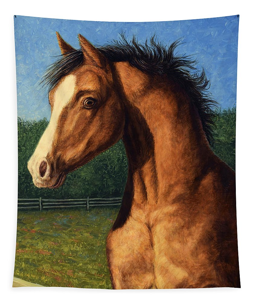 Horse Tapestry featuring the painting Stir Crazy by James W Johnson