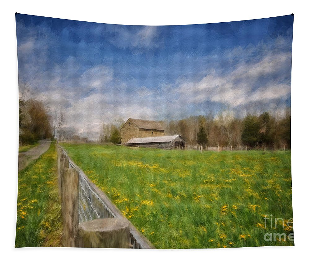 Barn Tapestry featuring the photograph Stone Barn On A Spring Morning by Lois Bryan