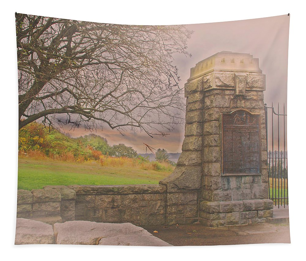 Groton Tapestry featuring the photograph Stone Gate by Tom Gari Gallery-Three-Photography
