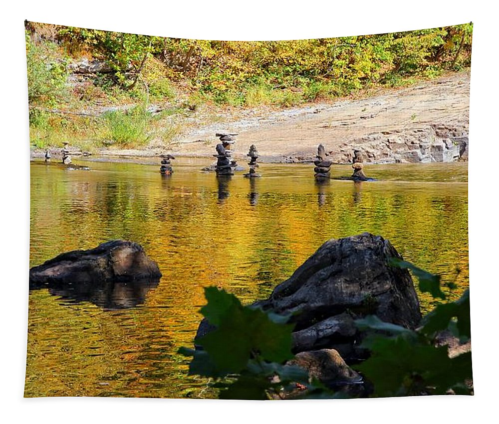 High Falls Tapestry featuring the photograph Stone Gods Of The River by Robert McCulloch