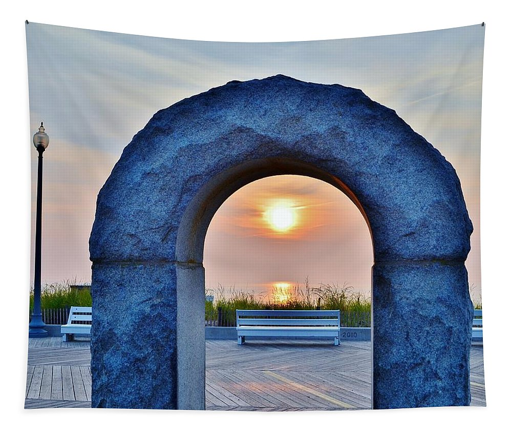 Fountain Tapestry featuring the photograph Sunrise Through The Arch - Rehoboth Beach Delaware by Kim Bemis