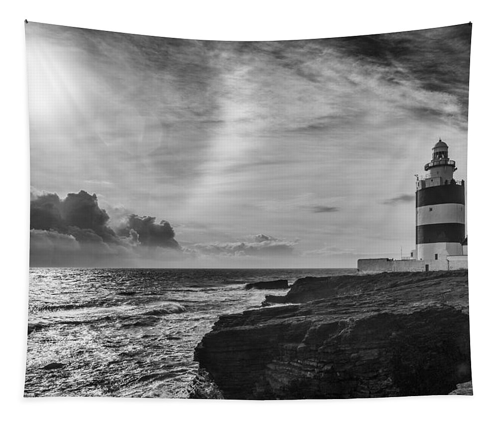 Hook Tapestry featuring the photograph Storm Approaching Hook Head by Nigel R Bell