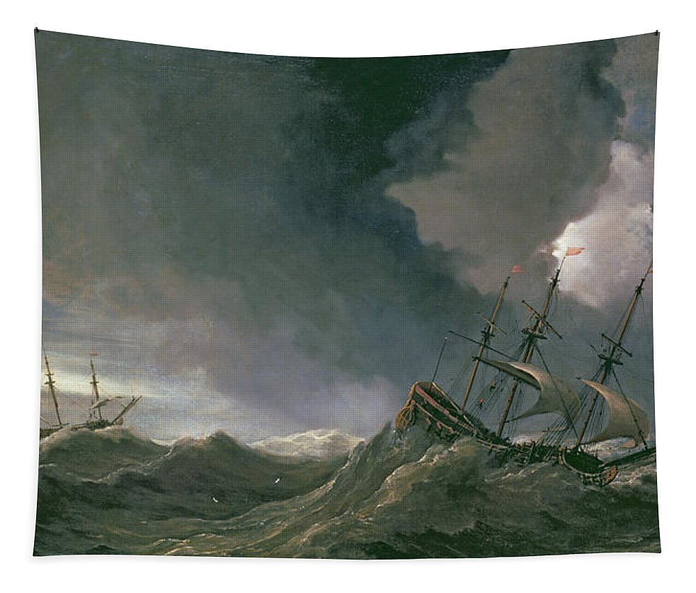 Ships Tapestry featuring the painting Storm At Sea by Willem van de II, Velde