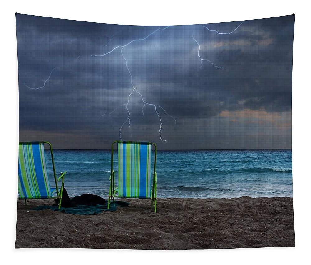 Lightning Tapestry featuring the photograph Storm Chairs by Laura Fasulo