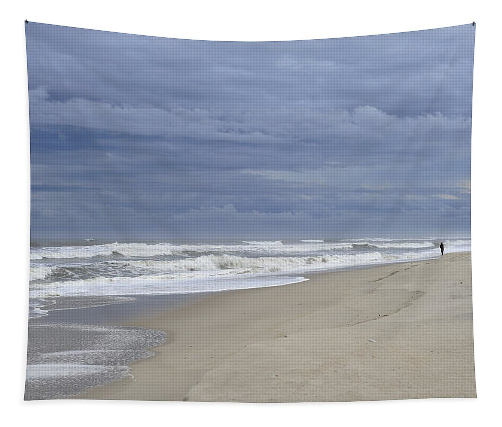 Storm Fishing Tapestry featuring the photograph Storm Fishing by Terry DeLuco