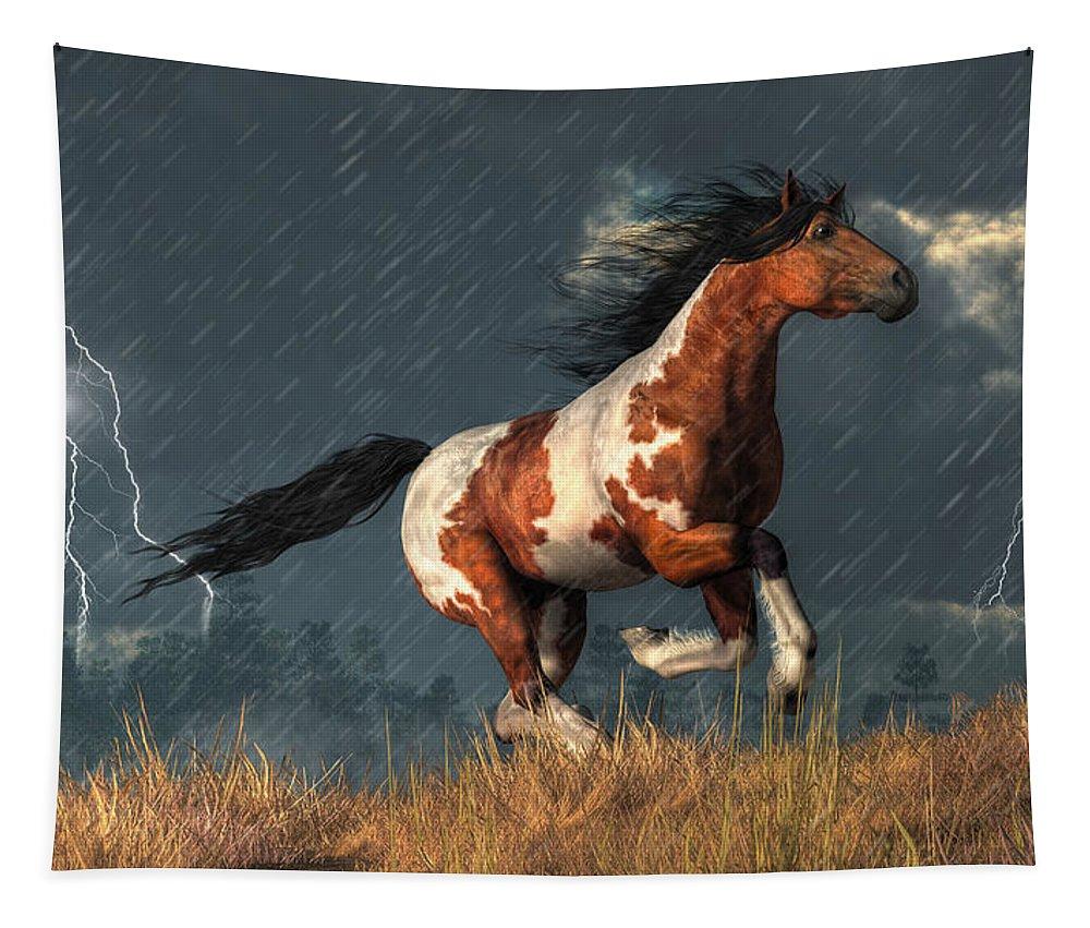Storm Mustang Tapestry featuring the digital art Storm Mustang by Daniel Eskridge